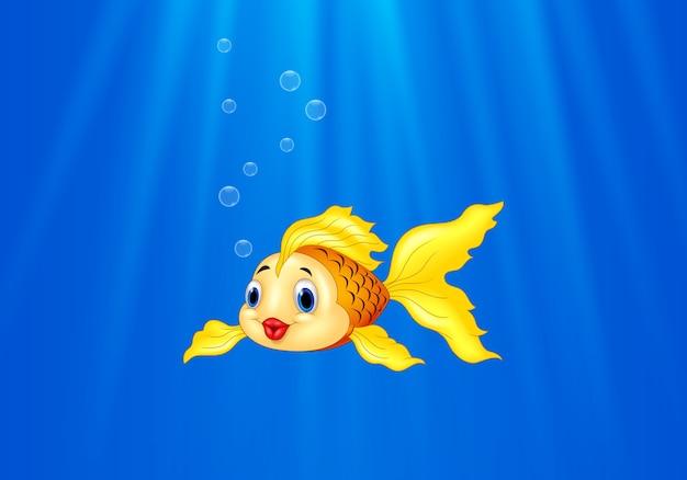Cartoon goldfish swimming in the water