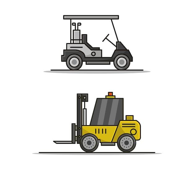 Cartoon golf car e set di carrelli elevatori