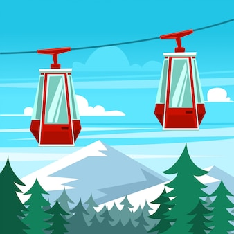 Cartoon gondola winter sky trip scene template