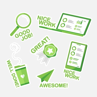 Мультфильм хорошая работа и отличная работа набор наклеек зеленый