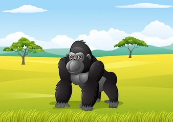 Cartoon gorilla in the savanna landscape