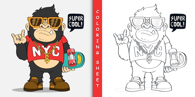 Cartoon gorilla with skateboard, coloring sheet
