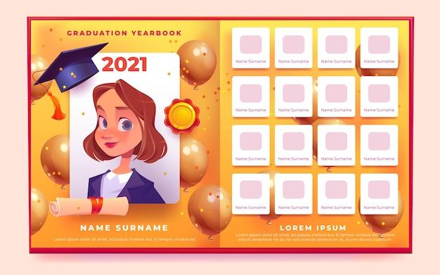 Cartoon graduation yearbook