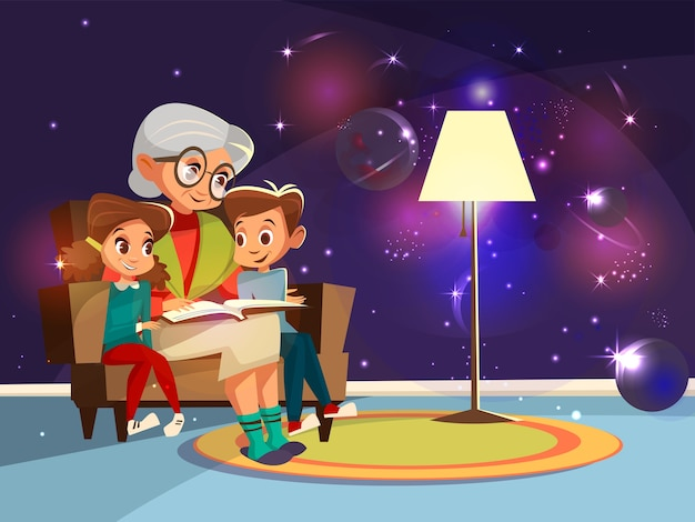 Cartoon grandmother reading astrophysics, cosmos space science book