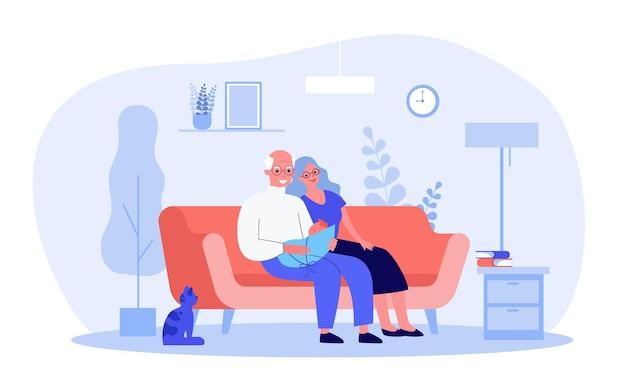 漫画の祖父母と小さな孫。