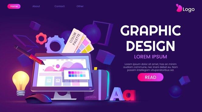 Cartoon graphic design landing page