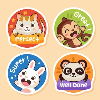 Cartoon great job stickers collection Free Vector