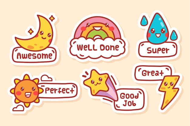 Cartoon great job stickers collection