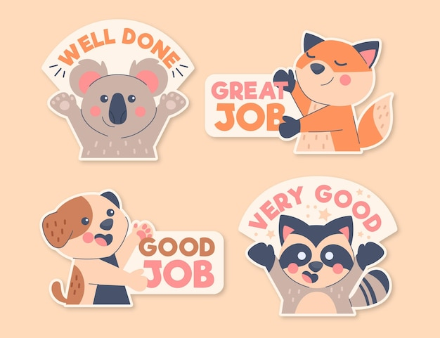 Cartoon great job stickers pack