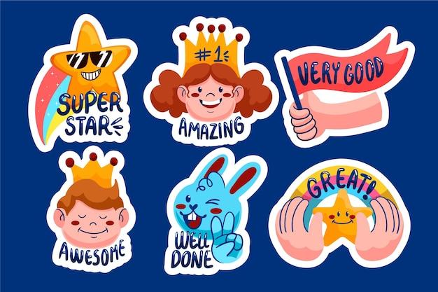 Cartoon great job stickers set