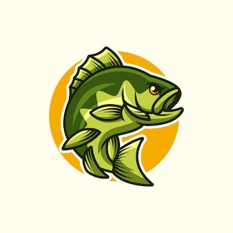 Логотип мультяшного зеленого окуня