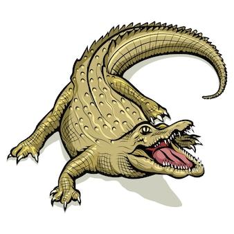 Мультяшный зеленый крокодил. животное рептилии, хищник с открытым ртом