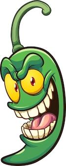 Мультяшный зеленый перец халапеньо с сумасшедшей улыбкой.