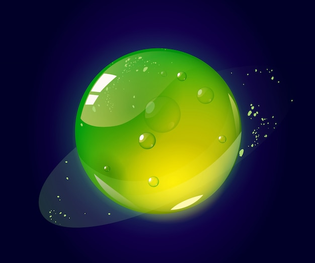 Cartoon green jelly planet in outer space