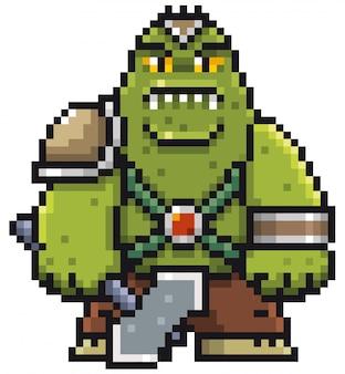 Мультфильм зеленый монстр пиксель дизайн