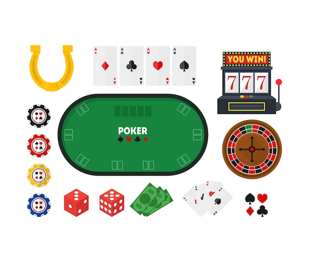 만화 녹색 포커 테이블 및 장비 카지노 세트 인테리어 놀이 도박 게임 평면 디자인 스타일. 삽화