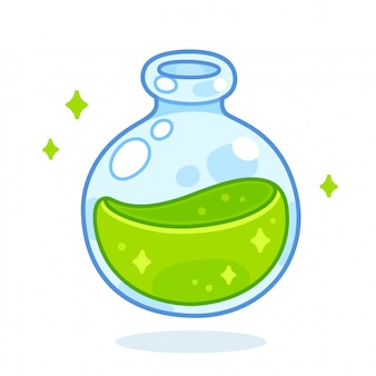 만화 녹색 물약 병