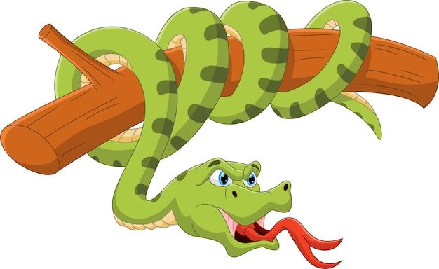 木の上の漫画の緑のヘビ