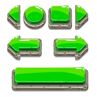 Cartoon green stone buttons for game