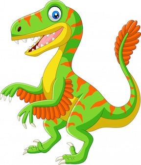 Cartoon green velociraptor on white