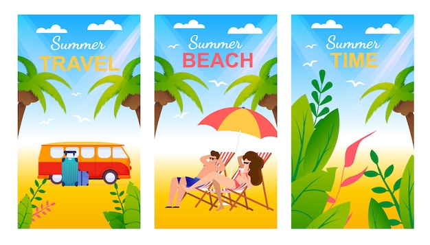 Cartoon greeting cards set with tropical beach and lettering advertising summer travel