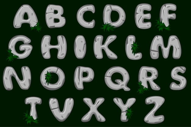 Cartoon grey stone alphabet font, abc.