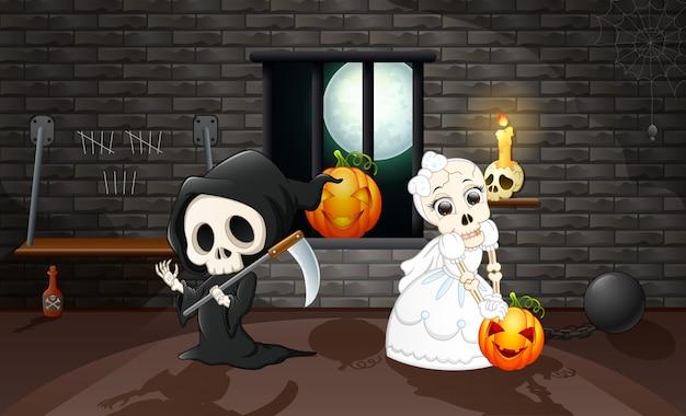 Мультяшный мрачный жнец и черепа невесты
