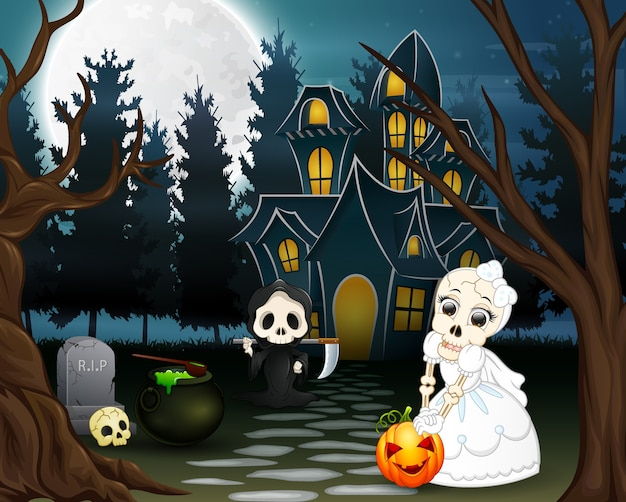 Cartoon of grim reaper and skull bride in the halloween day