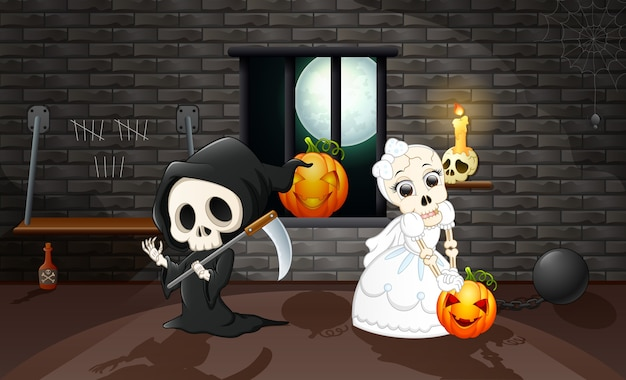 Cartoon grim reaper and skull bride
