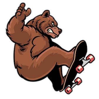 Cartoon grizzly beer playing skateboard