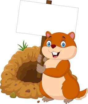 Cartoon groundhog holding blank sign