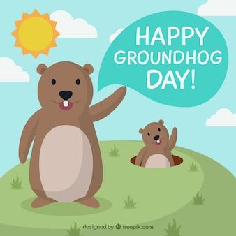 Cartoon groundhogs illustration