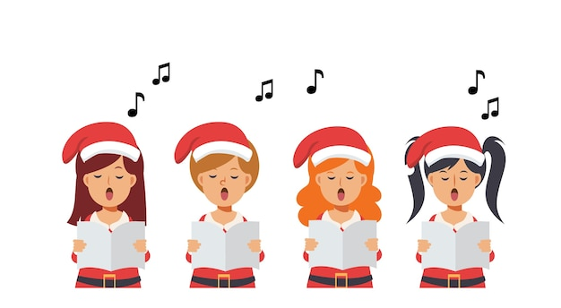 Cartoon group of girls singing christmas carols. merry christmas.