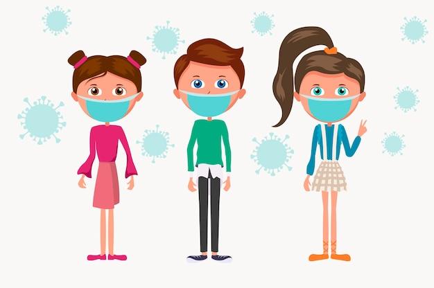 青い医療マスクの子供たちの漫画グループ。子供とコロナウイルス菌の流行。
