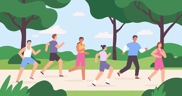 都市公園でジョギングしている人々の漫画のグループ、レースの競争。屋外での運動。マラソンベクトルの概念を実行している男性と女性のアスリート