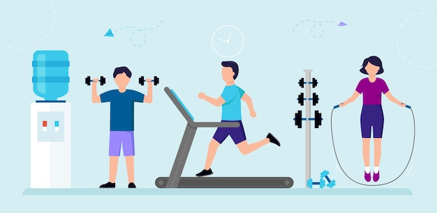 Cartoon group of people in gym exercising. male and female characters doing sports