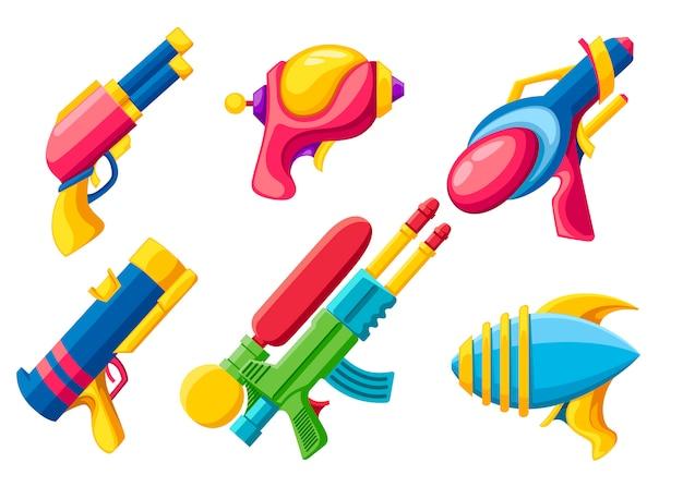漫画銃コレクション。カラフルなおもちゃ。宇宙レーザー銃。白い背景の上のベクトル図