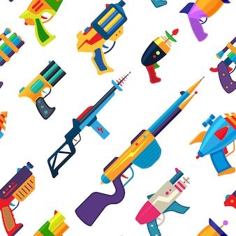 子供のピストルとレーザー兵器のシームレスなパターン背景のスペースイラストセットで拳銃とエイリアンのレイガンと子供たちのゲームのための漫画銃ベクトルグッズブラスター