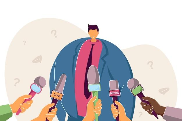 プレスやテレビにインタビューをしている漫画の男。フラットベクトルイラスト。マイクの前に立って、記者と意見やコメントを共有する公益の男。ニュース、インタビューのコンセプト