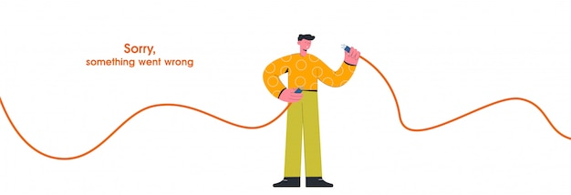 Cartoon guy hold unplugged cable internet disconnect   illustration