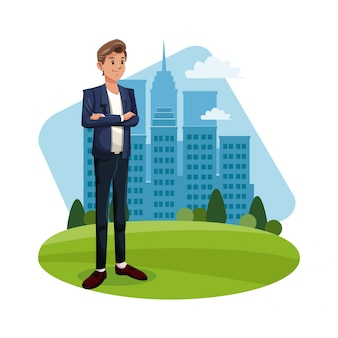 Cartoon guy standing grass with city building background