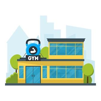 Мультфильм тренажерный зал фитнес здание внешний фасад упражнения спортивный дом плоский дизайн стиле
