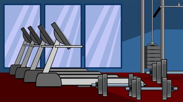 Мультфильм тренажерный зал с оборудованием. рисованной иллюстрации изолированные