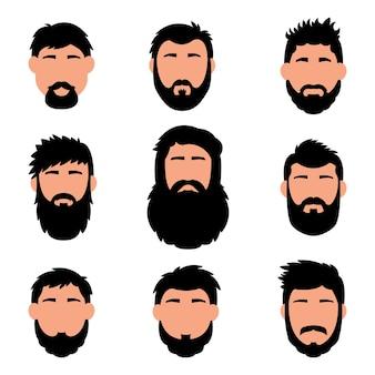 만화 머리, 수염 및 얼굴. 세련된 스타일.