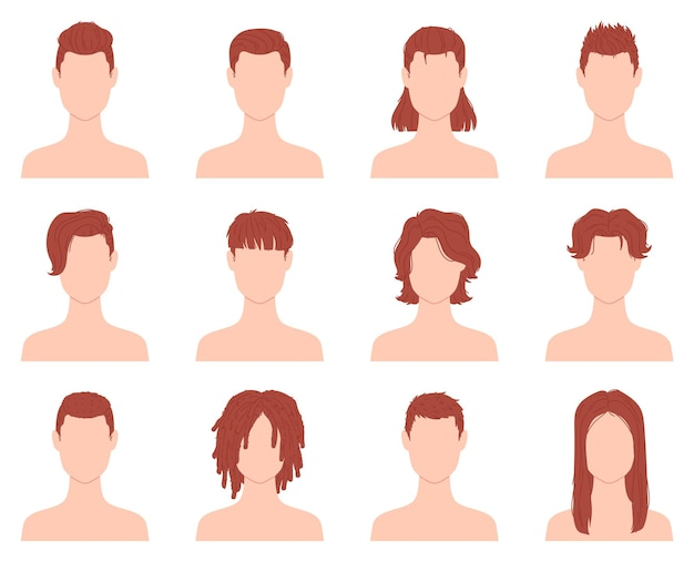 Cartoon hairstyles for men or boys with short, long and curly hair. male haircut in barber salon. flat fashion man hairstyle icon vector set. stylish handsome coiffure isolated on white