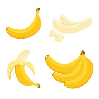 漫画の半分皮をむいたバナナとバナナの束。トロピカルフルーツ、バナナスナック、またはベジタリアン栄養。トレンディな漫画のスタイルのビーガンフードアイコン。健康食品のコンセプトです。