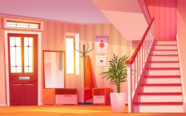 Мультяшный интерьер зала иллюстрации