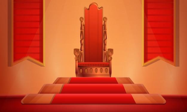 Cartoon hall with a throne on a pedestal, illustration