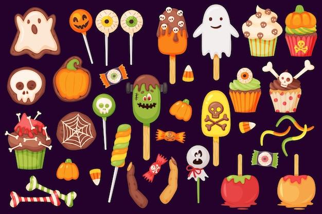 만화 할로윈 사탕과 과자 롤리팝 컵 케이크 카라멜 사과 호박 유령 쿠키 벡터 세트