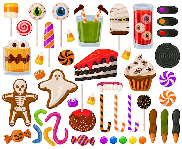 Cartoon halloween candies spooky sweets chocolate candy scary lollipops vector illustration set
